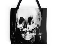Woman with Halloween Skull Reflection In Mirror Tote Bag