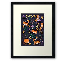 Foxes in magic forest Framed Print