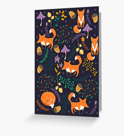 Foxes in magic forest Greeting Card