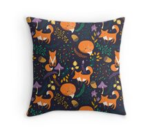 Foxes in magic forest Throw Pillow