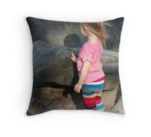 Little Girl and Frog Throw Pillow