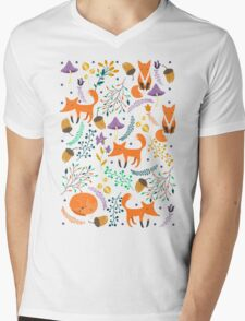 Foxes in magic forest Mens V-Neck T-Shirt