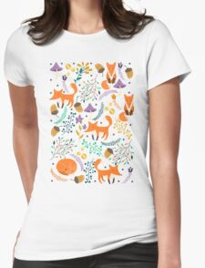 Foxes in magic forest Womens Fitted T-Shirt