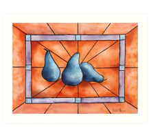 Stained Glass Pears Art Print