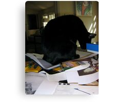 PhD Workspace 2 with Cat Canvas Print