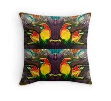 Mirror gold kingfishers Throw Pillow