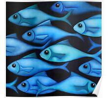 Blue Fish School Poster
