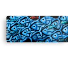 Large Blue Fish School Metal Print
