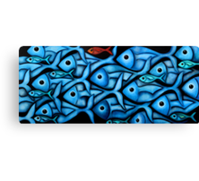 Large Blue Fish School Canvas Print