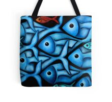 Large Blue Fish School Tote Bag
