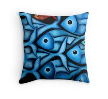 Large Blue Fish School Throw Pillow