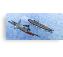 SBD Dive Bomber and the Japanese Battleship Yamato Canvas Print
