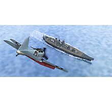 SBD Dive Bomber and the Japanese Battleship Yamato Photographic Print