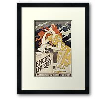 Vintage woman with harp and quill Framed Print