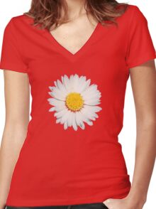 Nine Common Daisies Isolated on A Black Background Women's Fitted V-Neck T-Shirt