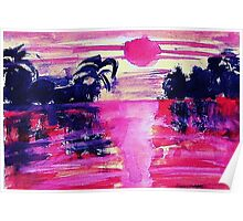 Misty tropical morning, watercolor Poster