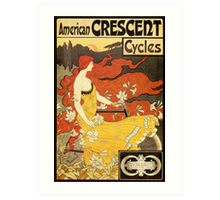 Vintage American art nouveau Bicycles ad Art Print