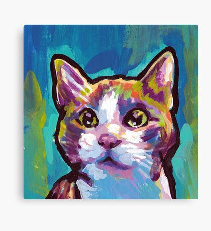 Kitty Cat Bright colorful pop kitty art Canvas Print
