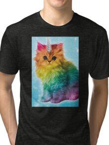 Unicorn Rainbow Cat Kitten Funny Tri-blend T-Shirt