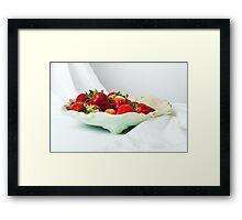 Fresh ripe strawberries on a plate  Framed Print
