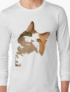 I'm All Ears - Cute Calico Cat Portrait Long Sleeve T-Shirt
