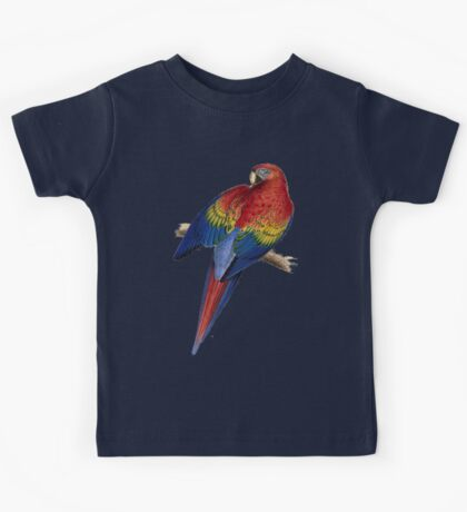 Illustration of A Scarlet Macaw Isolated On White Kids Tee