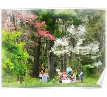 Picnic Under the Flowering Trees Poster