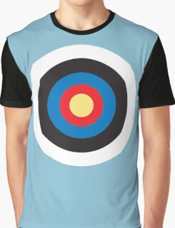 Bulls Eye, Right on Target, Roundel, Archery, Mod, Hit, on Blue Graphic T-Shirt