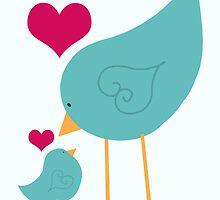 Momma and Baby Bird Love II by Cherie Balowski