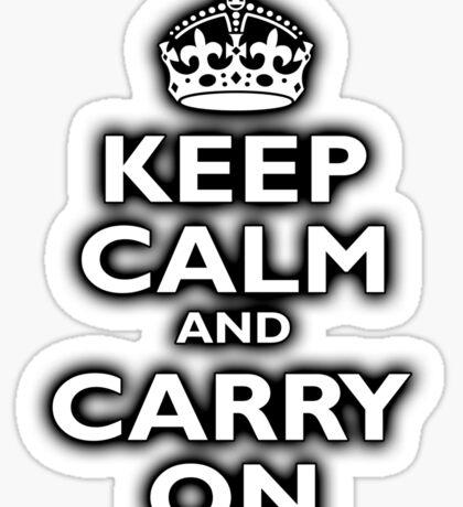 KEEP CALM, Keep Calm & Carry On, Be British! Blighty, UK, United Kingdom, white on black Sticker