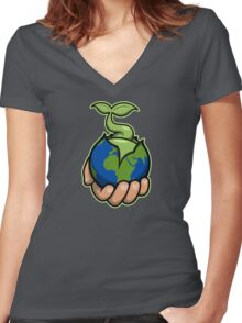 Give Someone The World Women's Fitted V-Neck T-Shirt