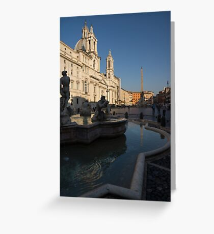 Roman Morning - Shadow and Light on Piazza Navona, Rome, Italy Greeting Card