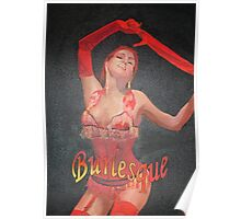 Burlesque Dancer Wearing Vintage Red Corset and Gloves Poster