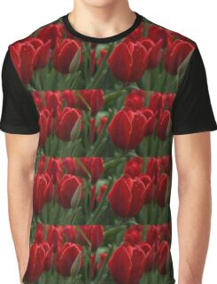 Vibrant Red Spring Tulips Graphic T-Shirt