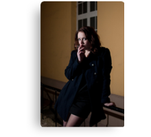Girl with a cigarette Canvas Print