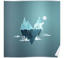 Low Poly Polar Bear Poster