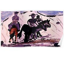 Enjoying a ride after the snow, watercolor Poster