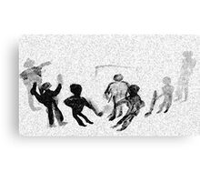 Kids playing Hockey in snow fall, watercolor Canvas Print