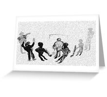 Kids playing Hockey in snow fall, watercolor Greeting Card