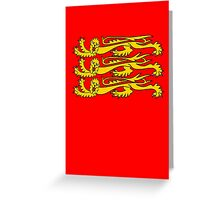 Three Lions, Royal Banner of England, England, 3 Lions, English, British, Britain, UK, RED Greeting Card
