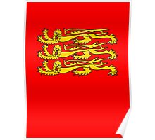 Three Lions, Royal Banner of England, England, 3 Lions, English, British, Britain, UK, RED Poster