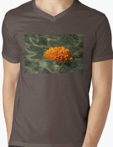 Floating Autumn - Chrysanthemum Blossom in the Fountain Mens V-Neck T-Shirt