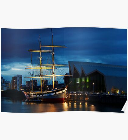 The Glenlee at Night Poster