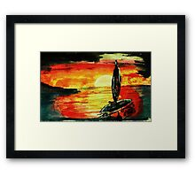 Fisherman going home, watercolor Framed Print