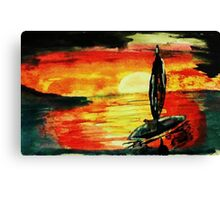 Fisherman going home, watercolor Canvas Print