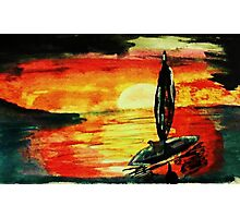 Fisherman going home, watercolor Photographic Print
