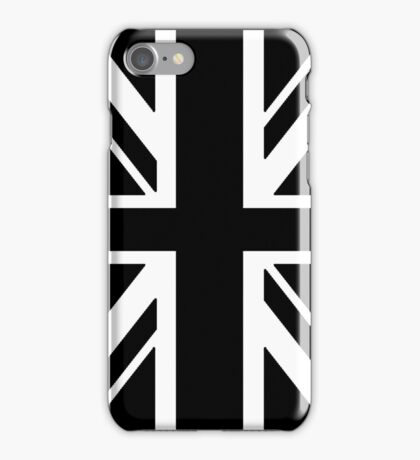 BRITISH, UNION JACK, FLAG, UK, GB, UNITED KINGDOM, PORTRAIT, IN BLACK iPhone Case/Skin