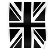 BRITISH, UNION JACK, FLAG, UK, GB, UNITED KINGDOM, PORTRAIT, IN BLACK Poster
