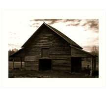 Crow Barn in B&W Art Print