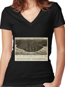 Panoramic Maps Green Cove Springs county seat of Clay County Florida 1885 Women's Fitted V-Neck T-Shirt